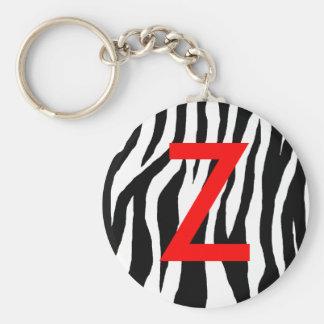 Estampado de zebra negro y blanco llavero redondo tipo pin