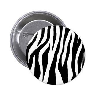 Estampado de zebra negro y blanco pin redondo de 2 pulgadas