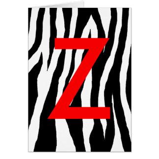 Estampado de zebra negro y blanco tarjeta de felicitación