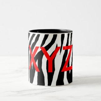 Estampado de zebra negro y blanco taza dos tonos