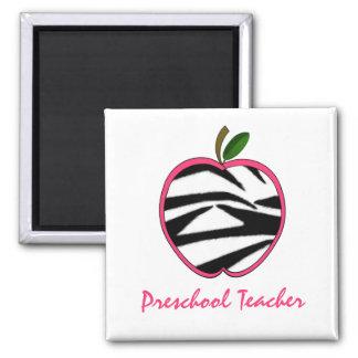 Estampado de zebra preescolar Apple del profesor Imán Cuadrado