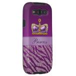 Estampado de zebra púrpura de princesa Crown Faux  Samsung Galaxy S3 Carcasa