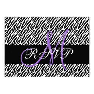 """Estampado de zebra púrpura del monograma que casa invitación 3.5"""" x 5"""""""