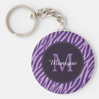 Estampado de zebra púrpura elegante con el llavero redondo tipo pin