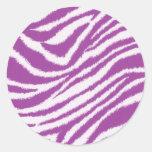 Estampado de zebra púrpura pegatinas redondas