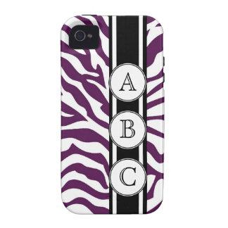 Estampado de zebra púrpura personalizado con 3 ini vibe iPhone 4 carcasa