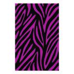 Estampado de zebra púrpura y negro papelería