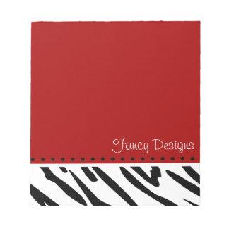 Estampado de zebra rojo libretas para notas