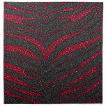 Estampado de zebra rojo del brillo servilletas