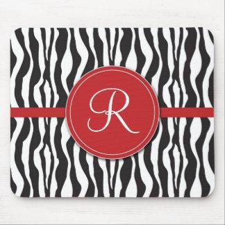 Estampado de zebra rojo femenino Mousepad del mono Alfombrillas De Raton
