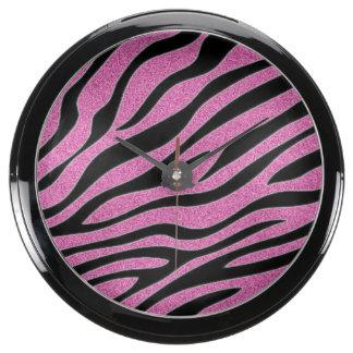 Estampado de zebra rosado brillado reloj aqua clock