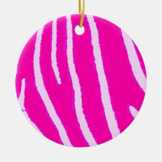 Estampado de zebra rosado de Lite Ornamento De Navidad