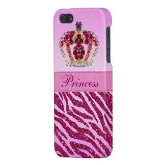 Estampado de zebra rosado de princesa Crown Glitte iPhone 5 Funda