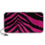 Estampado de zebra rosado eléctrico caliente mini altavoces
