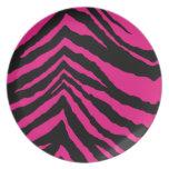 Estampado de zebra rosado eléctrico caliente plato para fiesta