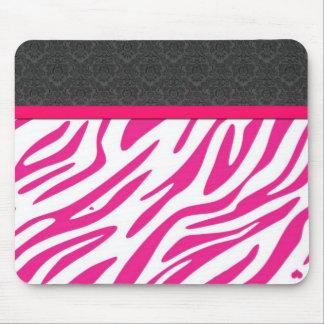 Estampado de zebra rosado elegante alfombrillas de ratones