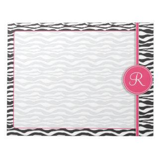 Estampado de zebra rosado femenino del monograma blocs