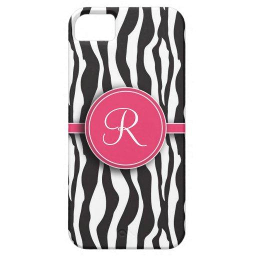Estampado de zebra rosado femenino del monograma funda para iPhone 5 barely there