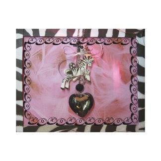 Estampado de zebra rosado hermoso del amor impresion en lona