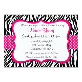 """Estampado de zebra rosado Invitaiton Invitación 5"""" X 7"""""""