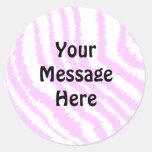 Estampado de zebra rosado, modelo animal pegatinas redondas