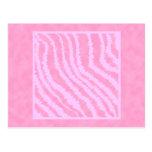 Estampado de zebra rosado, modelo animal tarjetas postales