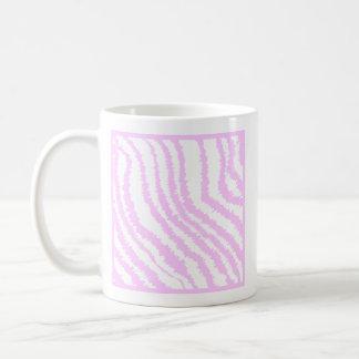 Estampado de zebra rosado, modelo animal taza básica blanca