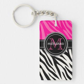 Estampado de zebra rosado negro femenino moderno p llavero