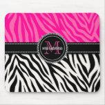 Estampado de zebra rosado negro femenino moderno p tapetes de raton