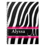 Estampado de zebra rosado personalizado cuadernos