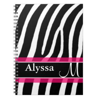 Estampado de zebra rosado personalizado libro de apuntes