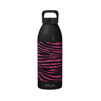 Estampado de zebra rosado y negro bling (falso bri botella de agua reutilizable