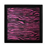 Estampado de zebra rosado y negro bling (falso bri caja de regalo