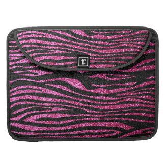Estampado de zebra rosado y negro bling falso bri fundas para macbooks