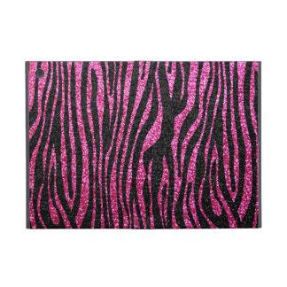 Estampado de zebra rosado y negro bling (falso bri iPad mini protectores