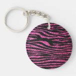 Estampado de zebra rosado y negro bling (falso bri llavero