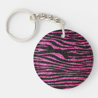 Estampado de zebra rosado y negro bling (falso bri llavero redondo acrílico a doble cara
