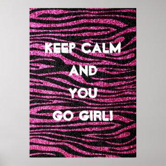 Estampado de zebra rosado y negro bling (falso bri póster