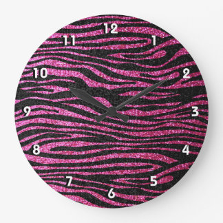 Estampado de zebra rosado y negro bling (falso bri reloj redondo grande