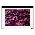 Estampado de zebra rosado y negro bling (falso bri skins para portátil