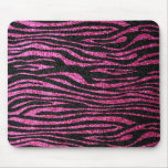 Estampado de zebra rosado y negro bling (falso bri alfombrilla de ratón