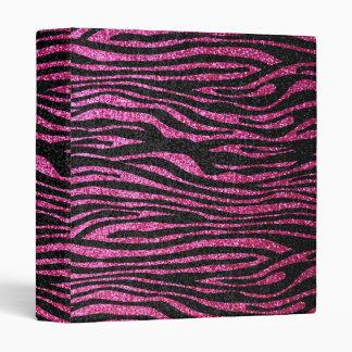 """Estampado de zebra rosado y negro bling (falso carpeta 1"""""""