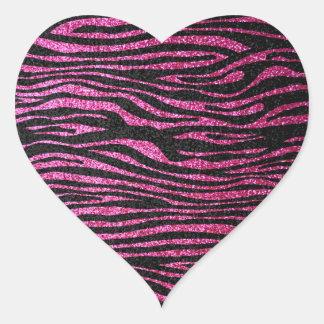 Estampado de zebra rosado y negro bling (falso pegatina en forma de corazón