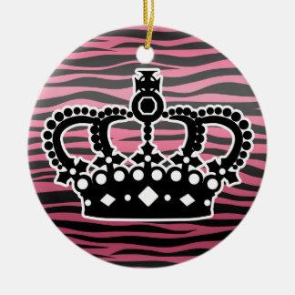Estampado de zebra rosado y negro de la princesa adorno navideño redondo de cerámica