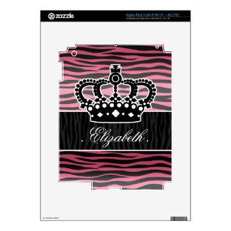 Estampado de zebra rosado y negro de la princesa f iPad 3 skin