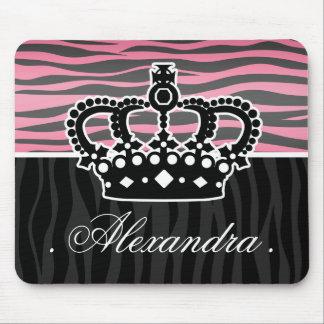 Estampado de zebra rosado y negro de la princesa f tapetes de ratón