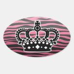 Estampado de zebra rosado y negro de la princesa calcomanía de oval personalizadas