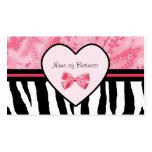 Estampado de zebra rosado y negro de moda con la c plantillas de tarjeta de negocio