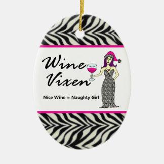 Estampado de zebra travieso del Vixen del vino Ni Ornaments Para Arbol De Navidad