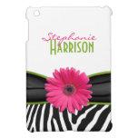 Estampado de zebra verde rosado de la margarita pe iPad mini coberturas
